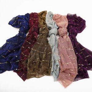 Fashion Shining Gold Scarf Hijab Scarves Shawl Glitter Muslim Head Wraps Muffler