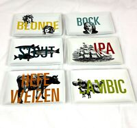 Crate & Barrel Appetizer Snack Plates Set Beer IPA Stout Bock Blonde Lambic 6 Pc