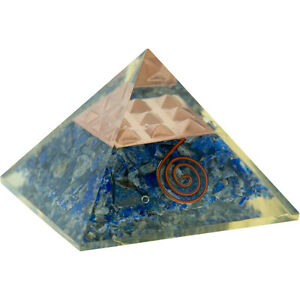 Lapis with Copper Spiral and Pyramid Grid Orgonite Pyramid!