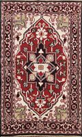 Geometric Traditional Heriz Oriental Area Rug Hand-knotted Kitchen Carpet 4'x6'
