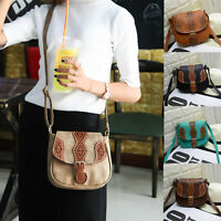 Womens Vintage Floral Handbag Hollow Out Crossbody Messenger Saddle Shoulder Bag