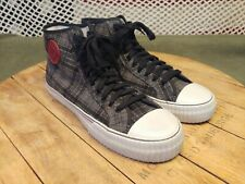 PF Flyers Hi Tops PM11OH4D Grey Black Plaid M12 W13.5