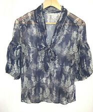 Massimo Dutti Sheer Purple Grey White 100% Silk Blouse 3/4 sleeve Small EU 38