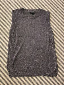 Topshop Pewter  Grey Knitted Metal Tank  Top Size UK 12