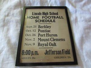 VTG Lincoln High School MI Home Football SCHEDULE cardboard poster 12x15 framed