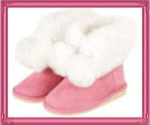 "NWT Infant Girl 4 Gymboree ""COZY CUTIE"" Pink Faux Suede BOOTS Faux Fur & POMS"