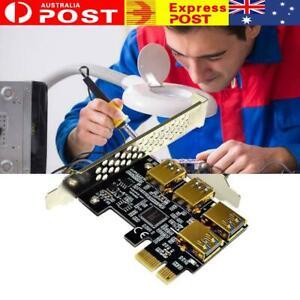4 Ports PCIe Riser Adapter Board PCI-E 1x to 4 USB Rabbet 3.0 PCI-E GPU New F5C2