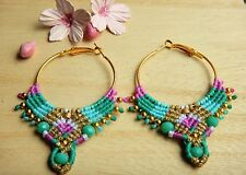 Handmade Macrame Earrings hoops beaded earring ethnic gypsy