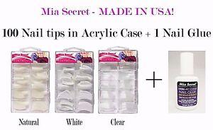 Mia Secret Professional Nail Tips *100 PCs & Nail Glue*  White, Clear, Natural
