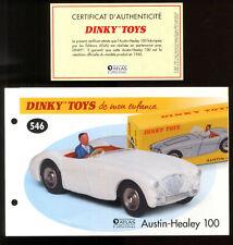 DINKY TOYS / ATLAS  FICHE ET CERTIFICAT pour le modèle n°546  AUSTIN-HEALEY 100