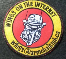 """WINGS ON THE INTERNET SEW ON ONLY PATCH BIKE MOTORCYCLE TOURING  3 3/4"""" round"""