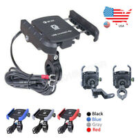 Motorcycle Handlebar Mount Cell Phone Holder USB Charger QC 3.0 Quick Charging