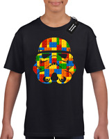 TROOPER HELMET BRICKS KIDS CHILDRENS STAR T-SHIRT TOP STORM WARS BOYS FAN