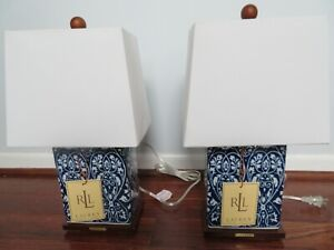 NWT Pair of RALPH LAUREN Dark Blue White Floral PORCELAIN LAMPS + WHITE SHADES