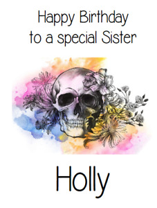 PERSONALISED GREETINGS CARD BIRTHDAY PARTY SKULL AND ROSES TATTOO PUNK GOTH
