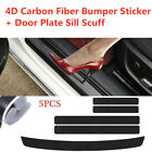 5x Parts Accessories Carbon Fiber Car Door Sill Scuff Plate Sticker Protector