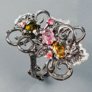 Unique fine Art Tourmaline Ring Silver 925 Sterling  Size 8 /R176366