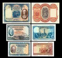 2x  25, 50, 500 Pesetas - Ausgabe 1926 & 1927 - Reproduktion - 26