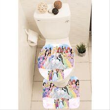 Disney Princesses Set of 3 Bathroom Rug Set Mat Toilet Lid Cover y70 w0015