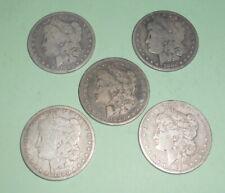 5 Morgan Silver Dollars 1880  Circulated