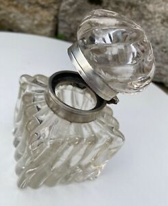 19c. Antique Art Nouveau French Baccarat Silver Swirl Crystal Inkwell Ink Bottle