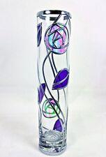 Rennie Mackintosh Style Handmade Rose & Leaf Leaded Glass Vase Art Deco Inspired