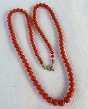 Korallenkette 44.5cm Halskette rote KORALLE Kugeln Verlauf Kette antik Schmuck