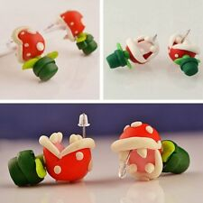 Flower Studs Super Mario Piranha Plant 3D Handcraft Polymer Clay Corpse 1 Pair c