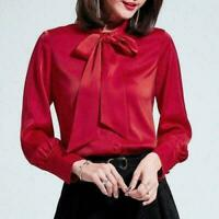Womens Satin Silk Blend Button Down Blouse Top Bow Tie Neck Shirt Long Sleeve US
