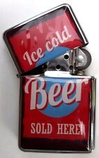 Classic Beer Design Metal Windproof Flip Top LIGHTER. Ice Cold Beer Sold Here!