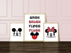 Minnie and Mickey Mouse Bathroom Prints - 3 prints Wash Brush Flush Floss