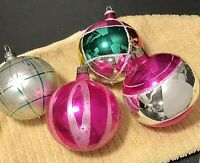 Vintage Mercury Glass Ball Ornaments Made in USA Lot of 4
