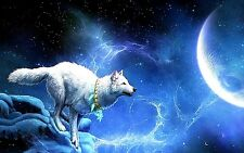 "3.25"" Fantasy Moonlit White Wolf STICKER. Lycanthrope Full Moon for bong or pipe"