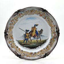 Keller et Guérin St Clément ? plat faïence décor personnages à cheval 19ème