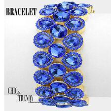 VERY HIGH END BLUE GLASS CRYSTAL BRACELET PROM FORMAL WEDDING TRENDY JEWELRY
