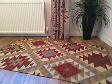 ❤️ Kazak Geometric Wool Cotton Kilim Rug 90cm x 150cm Flat Weave Fair Trade