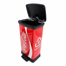 CURVER Pedal Deco Bin, Metal Effect, Decoration COCA-COLA, 50 L,
