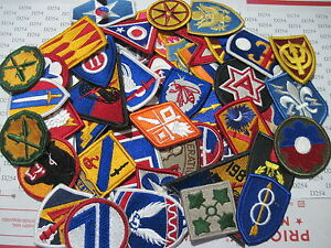 LOT 50 Assorted ARMY Shoulder  Insignia Military Color Patches dealer Patch   m