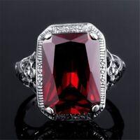 925 Sterling Silber Damen Ring Vintage Rot Rubin Edelstein neue Mode Geschenke