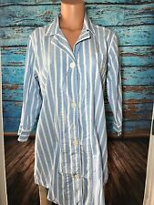 Ralph Lauren Women's Blue White Striped Sleep Shirt Sz L Large Pajamas