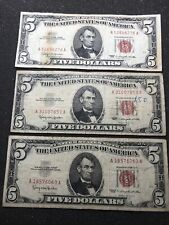 3x $5 Bill USA Five Dollars Lincoln