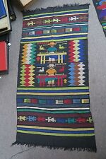 """Hand embroidered Stitched 22"""" x 41"""" Tapestry Textile Latin American Guatemalan"""