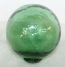 """Japanese Glass Fishing Float Green Marked Bg or Rg 16"""" Around Middle Marine Deco"""