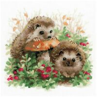 Hedgehogs In Lingonberries Counted Cross Stitch Kit