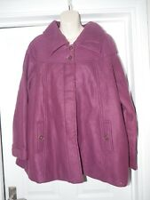 Purple Fleece Coat Size XL UK 22/24 Paisley Print Lining
