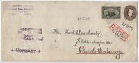 1900 50 Cent Trans-Mississippi #291 registered cover Chicago to Germany [y2564]