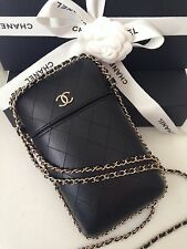 CHANEL BLACK QUILTED WOC WALLET ON A CHAIN GOLD PHONE CROSSBODY DRESS BAG NEW