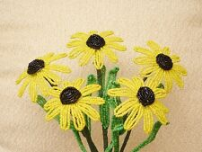 ** French Beaded Flowers ** 5 Black Eyed Susan's With Raised Centers **