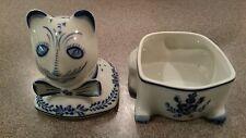 VIANA DO CASTELO PORTUGAL ART POTTERY CAT LIDDED TRINKET BOX COVERED DISH EUC