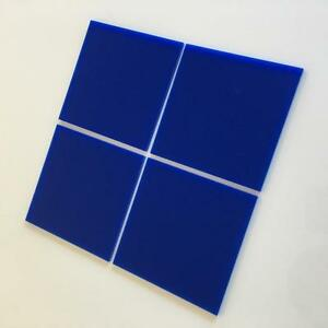 "Blue Gloss Acrylic Square Crafting Mosaic/Wall Tiles, Sizes: 1cm-20cm, 1""-7.9"""
